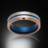 6mm,Brushed Satin Rose Gold,Gray and Blue,Tungsten Ring,Matching Wedding Band,Blue Ring - RING BEARER LA