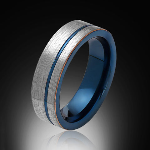 6mm,Unique,Brushed Satin Gray,Blue Groove,Tungsten Ring,Blue Mens Wedding Band,Blue Ring,Comfort FIt - RING BEARER LA