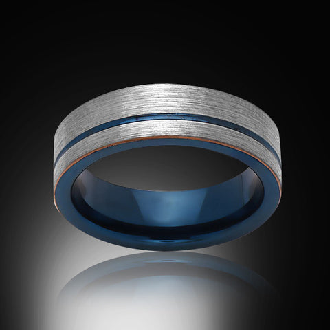 Blue Tungsten Ring - Brushed Gray - Engagement Band - 6MM - Mens Ring - Unisex - RING BEARER LA