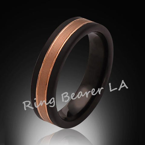 6mm,New,Unique,Satin Brushed,Rose Gold, Black Brushed,Tungsten Ring,Unisex Wedding Band,Comfort Fit - RING BEARER LA