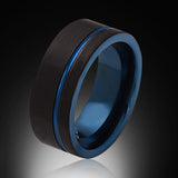 Blue Tungsten Ring - Brushed Black - Offset Groove - Engagement Band - 8MM - Mens Ring - Unisex