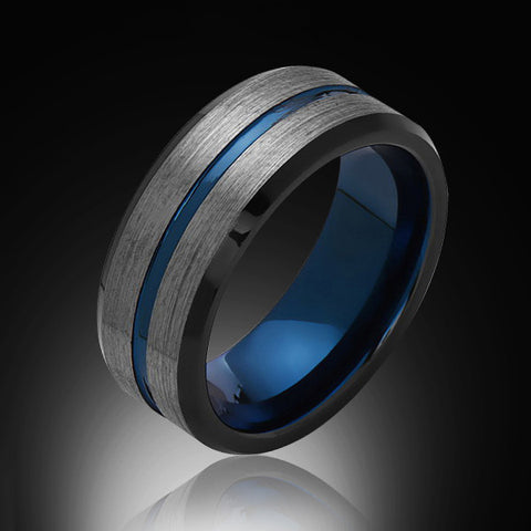 Blue Tungsten Ring Brushed Gray Black Engagement Band 8MM