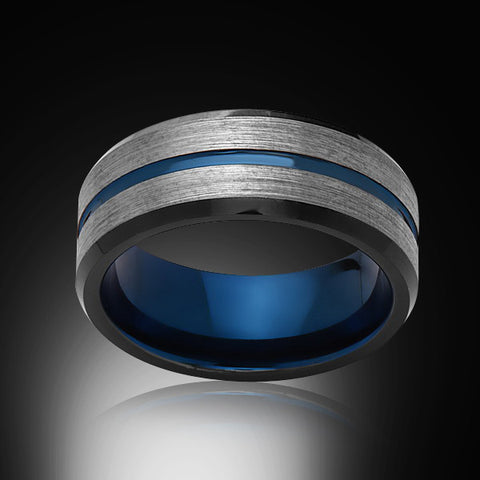 Blue Tungsten Ring - Brushed Gray - Black - Engagement Band - 8MM - Mens Ring - Unisex - RING BEARER LA