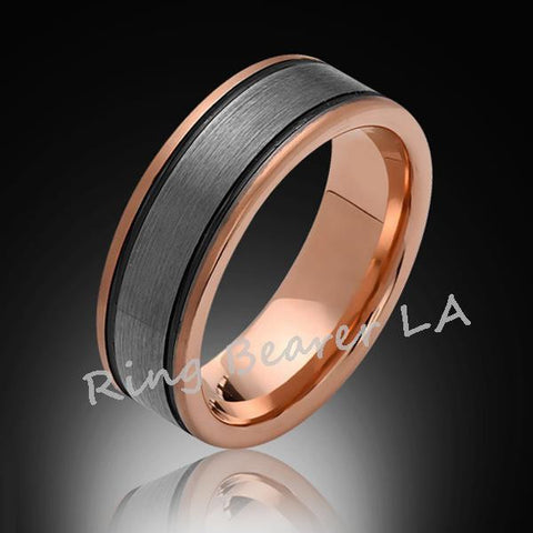 8mm,New,Satin,Brushed,Rose Gold, Black Grooves,Tungsten Ring,Mens Wedding Band,Comfort Fit - RING BEARER LA