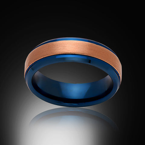Blue Tungsten Ring - Brushed Rose Gold - Engagement Band - 6MM - Mens Ring - Unisex