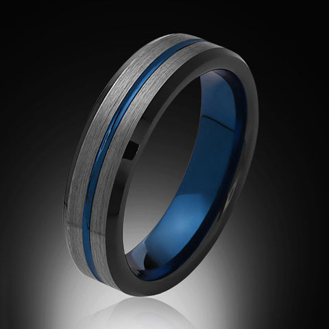 6mm,Brushed Satin Gray and Black,Blue Tungsten Ring,Mens Wedding Band,Comfort Fit