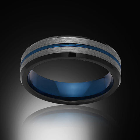 Blue Tungsten Ring - Brushed Gray - Black - Engagement Band - 6MM - Mens Ring - Unisex - RING BEARER LA