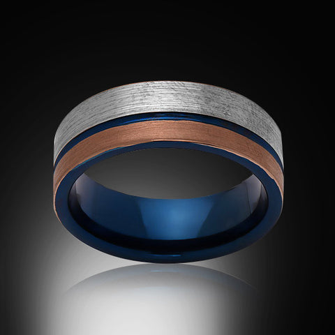 Blue Tungsten Ring - Brushed Rose Gold - Gray - Engagement Band - 8MM - Mens Ring - Unisex - RING BEARER LA