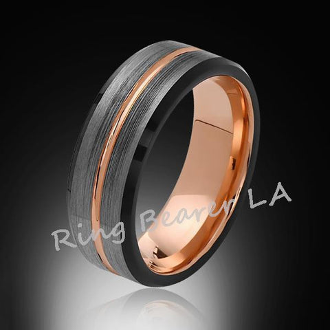 8mm,Rose Gold,Satin,Black and Gray Brushed,,Tungsten Ring,Men's Wedding Band,Mens Band,Comfort Fit - RING BEARER LA