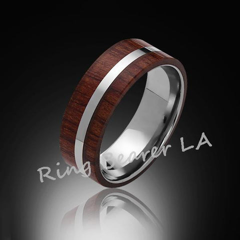 8mm,Unique,Koa Wood,Tungsten RIng,White Gold,Wedding Band,wood inlay,Comfort Fit - RING BEARER LA