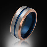 Blue Tungsten Ring - Brushed Gray - Rose Gold - Engagement Band - 8MM - Mens Ring - Unisex - RING BEARER LA