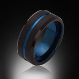 Blue Tungsten Ring - Brushed Black - Blue Groove - Engagement Band - 8MM - Mens Ring - Unisex