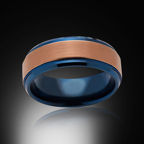 Blue Tungsten Ring - Brushed Rose Gold - Engagement Band - 8MM - Mens Ring - Unisex - RING BEARER LA