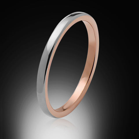 2mm,Ladies,High Polish,Gray Unique,Rose Gold,Ladies Wedding Band,Bridal Ring,Comfort Fit - RING BEARER LA
