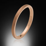 2mm,Ladies,Bridal Engagement Ring,Satin Brushed, Rose Gold,Tungsten Ring,Wedding Band,Comfort Fit - RING BEARER LA
