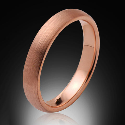 4mm,Ladies,Bridal Engagement Ring,Brushed Rose Gold,Tungsten Ring,Wedding Band,Comfort Fit - RING BEARER LA