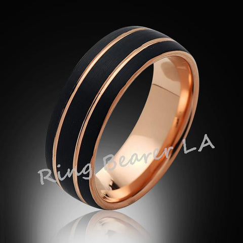 8mm,Satin,Black Brushed,Rose Gold,Tungsten Ring,Rose Gold,Men's Wedding Band,Mens Band,Comfort Fit - RING BEARER LA