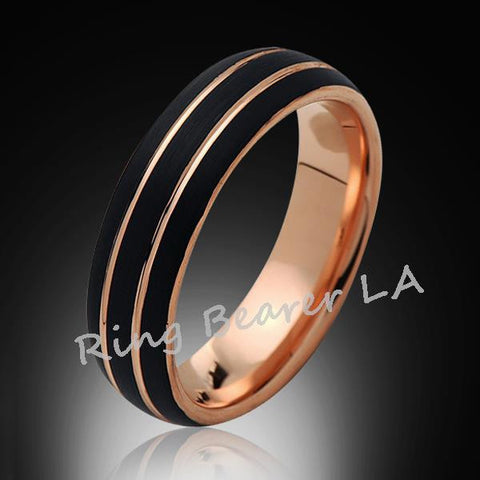 6mm,Unique,Black Satin Brushed,Rose Gold Grooves,Tungsten Ring,Rose Gold,Men's Wedding Band,Unisex,Comfort Fit - RING BEARER LA
