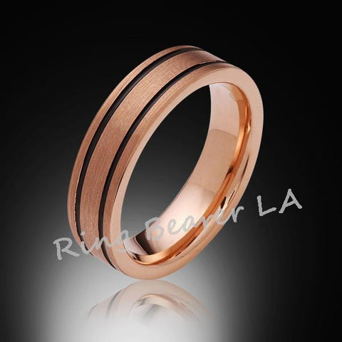 6mm,New,Unique,Satin Brushed,Rose Gold, Black Grooves,Tungsten Ring,Wedding Band,Unisex,Comfort Fit - RING BEARER LA