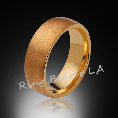 8mm,New,Unique,Satin Brushed Yellow Gold,Tungsten Rings,Wedding Band,Matching,Unisex,Comfort Fit - RING BEARER LA
