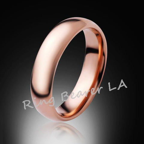 6mm,New,Unique,High Polished, Rose Gold,,Rose,Tungsten RIng,Wedding Band,His,Hers,Comfort Fit - RING BEARER LA