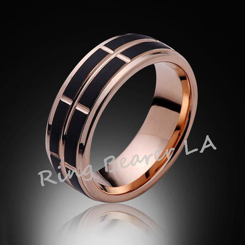 8mm,Satin Black Brushed,Rose Gold Groove,Tungsten RIng,Mens Wedding Band,Comfort Fit - RING BEARER LA