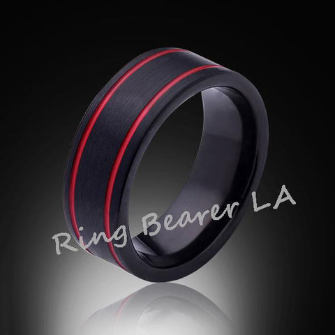 8mm,Unique,Satin Black Brushed, Red Grooves,Tungsten Ring,Wedding Band,Red Ring,Comfort Fit - RING BEARER LA