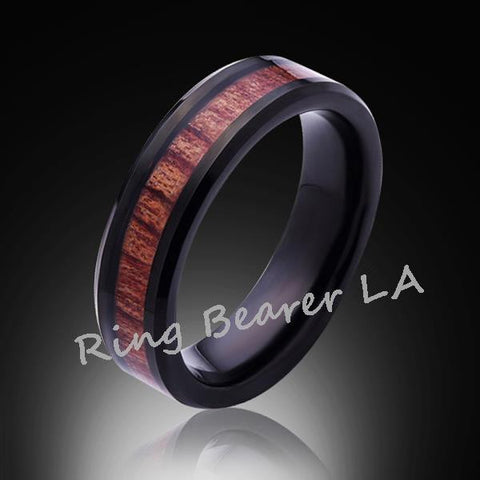 6mm,Unique,Black, Koa Wood Ring,Tungsten black,Wedding Band,Wood inlay,Unisex,Comfort Fit - RING BEARER LA