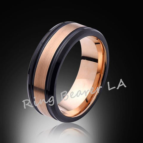 8mm,New,Rose Gold Satin Brushed,Black Edges,Tungsten Ring,Rose Gold,Wedding Band,Comfort Fit - RING BEARER LA