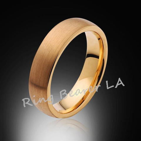 6mm,New,Unique,Satin Brushed Yellow Gold,Tungsten Rings,Wedding Band,Matching,Unisex,Comfort Fit - RING BEARER LA