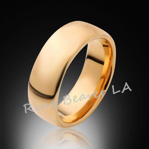 8mm,New,Unique,Dome,High Polished, Yellow Gold,,Tungsten RIng,Wedding Band,Unisex,Comfort Fit - RING BEARER LA