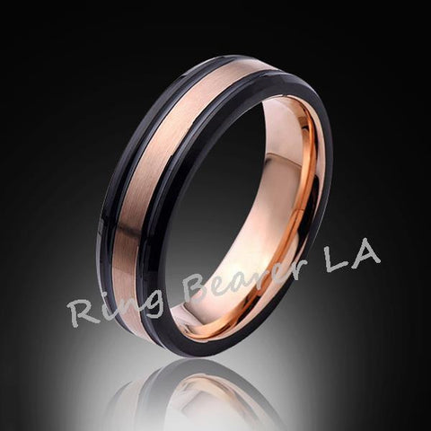 6mm,New,Rose Gold Satin Brushed,Black Edges,Tungsten Ring,Rose Gold,Wedding Band,Comfort Fit - RING BEARER LA