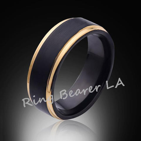 8mm,Satin,Black Brushed,Yellow Gold Edges,Tungsten Ring,Gold,Wedding Band,Mens Band,Comfort Fit - RING BEARER LA