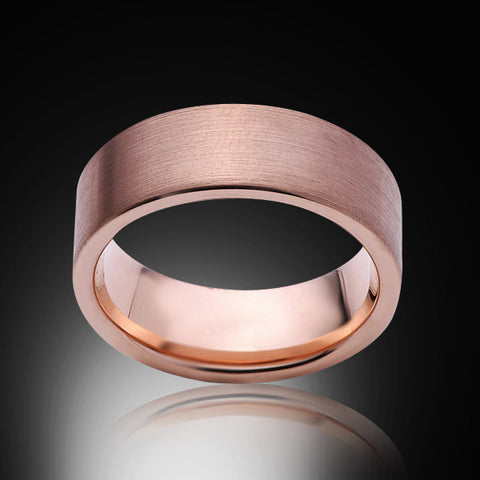 Rose Gold Tungsten Ring - Brushed - 8mm - Pipe Cut - Engagement Band - Wedding Ring -Mens Band - Unisex