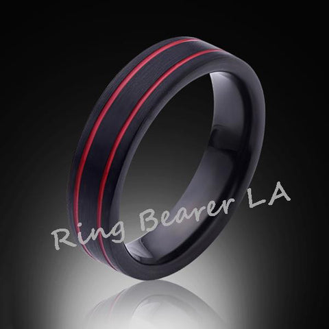 6mm,Unique,Satin Black Brushed, Red Grooves,Tungsten Ring,Wedding Band,Red Ring,Comfort Fit - RING BEARER LA