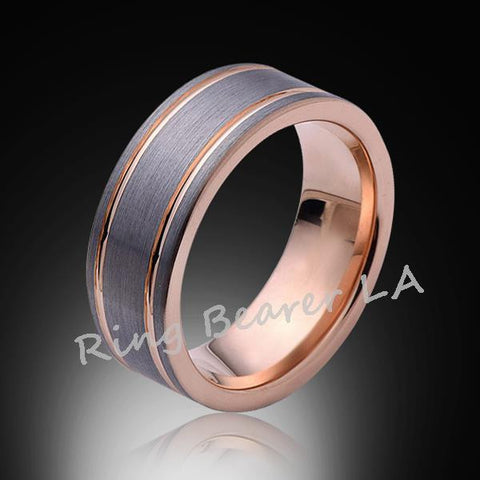 8mm,Unique,Satin Brushed,Gray and Rose Gold,Groove,Tungsten RIng,Wedding Band,Unisex Comfort Fit - RING BEARER LA