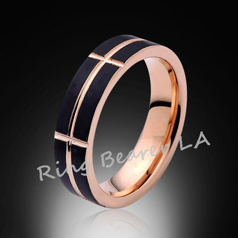 6mm,Unique,Brushed Satin Black,Rose Gold Groove,Tungsten Ring,Unisex,Comfort Fit - RING BEARER LA