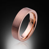 Rose Gold Tungsten Ring - Brushed - 6mm - Pipe Cut - Engagement Band - Wedding Ring -Mens Band - Unisex - RING BEARER LA