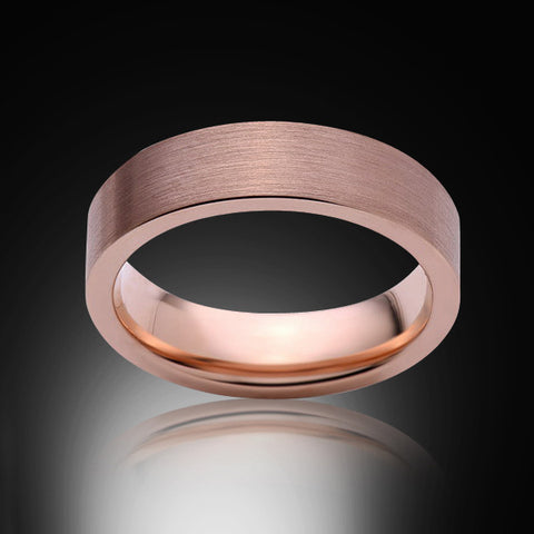 Rose Gold Tungsten Ring - Brushed - 6mm - Pipe Cut - Engagement Band - Wedding Ring -Mens Band - Unisex