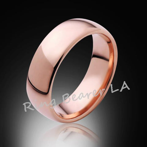 8mm,New,Dome,High Polished, Rose Gold,,Rose,Tungsten RIng,Wedding Band,Unisex,Comfort Fit - RING BEARER LA
