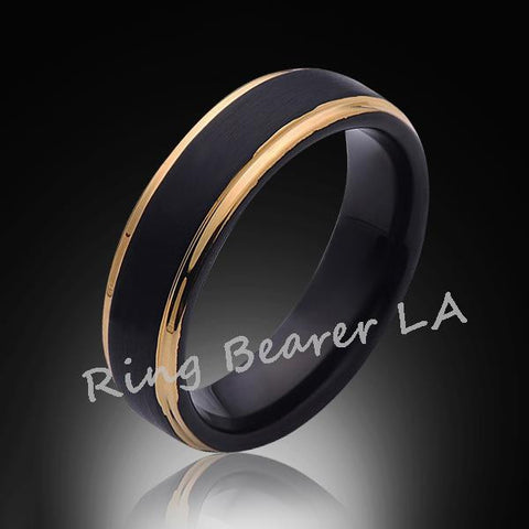 6mm,Unique,Black Satin Brushed,Yellow Gold Edges,Tungsten Ring,Gold,Wedding Band,Unisex,Comfort Fit, - RING BEARER LA