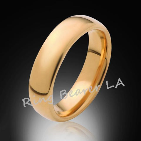 6mm,New,Unique,High Polished, Yellow Gold,Tungsten RIng,Wedding Band,Matching,His,Hers,Comfort Fit - RING BEARER LA