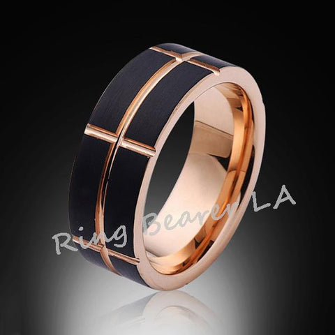 8mm,Satin,Brushed,Black,Rose Gold Groove,Tungsten Ring,Mens Wedding Band,Comfort Fit - RING BEARER LA