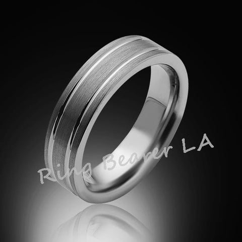 6mm,New,Unique,Satin Brushed Gray Brushed,Tungsten Rings,Wedding Band,Matching,Comfort Fit - RING BEARER LA