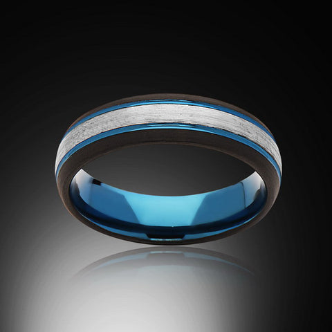 Blue Tungsten Ring - Brushed Gray - Black - Engagement Band - 6MM - Mens Ring - Unisex