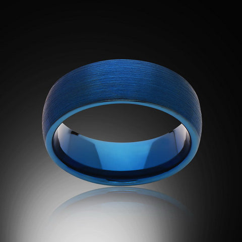 Blue Tungsten Ring - Brushed - 8MM - Engagement Band - Mens Ring - Unisex