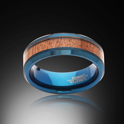 Koa Wood Ring - Blue Tungsten Band - Engagement Band - 8MM - Mens Ring - Unisex - RING BEARER LA