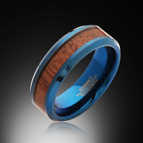 8mm,Unique,Hawaii, Koa Wood Ring,Blue Tungsten,Wedding Band,Wood inlay,Unisex,Comfort Fit - RING BEARER LA