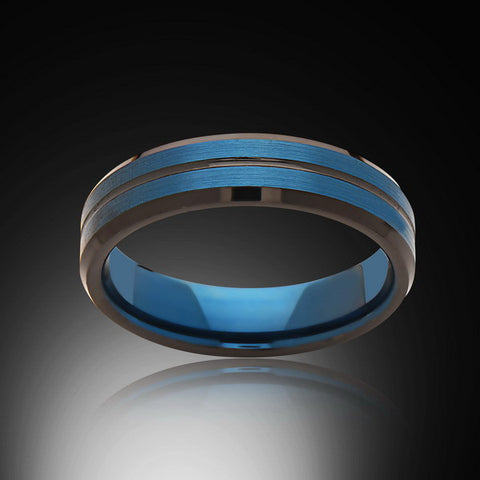 Blue Tungsten Ring - Brushed Blue - Black - Engagement Band - 6MM - Mens Ring - Unisex