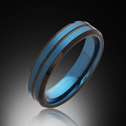 6mm,Brushed Satin Brushed,Blue Tungsten Ring,Unisex Wedding Band,Comfort Fit - RING BEARER LA